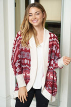 Delightful Burgundy Multi Fair Isle Print Cardigan 3