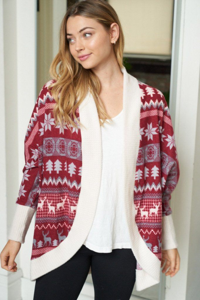 Delightful Burgundy Multi Fair Isle Print Cardigan 4