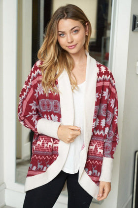 Delightful Burgundy Multi Fair Isle Print Cardigan 1