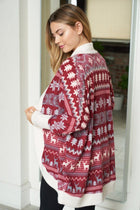 Delightful Burgundy Multi Fair Isle Print Cardigan 2