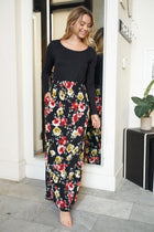 Divine Nights Black Floral Print Maxi Dress 4