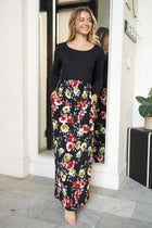 Divine Nights Black Floral Print Maxi Dress 3