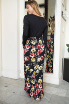 Divine Nights Black Floral Print Maxi Dress 2