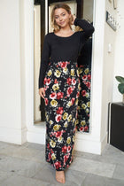 Divine Nights Black Floral Print Maxi Dress 1