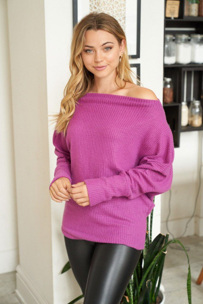 Double The Fun Magenta Off The Shoulder Top 4