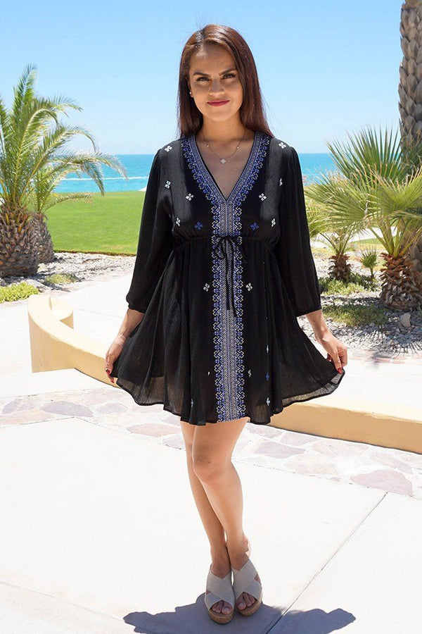 Dream In Black Embroidered Long Sleeve Swing Dress 2