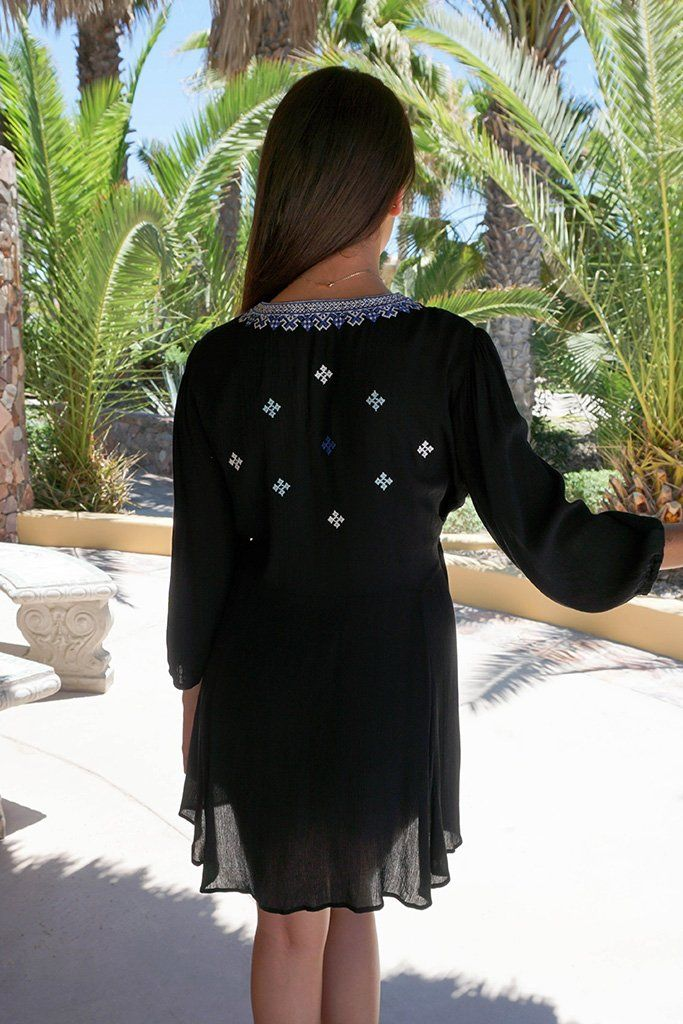 Dream In Black Embroidered Long Sleeve Swing Dress 3