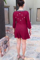 Dream In Burgundy Embroidered Long Sleeve Swing Dress 3