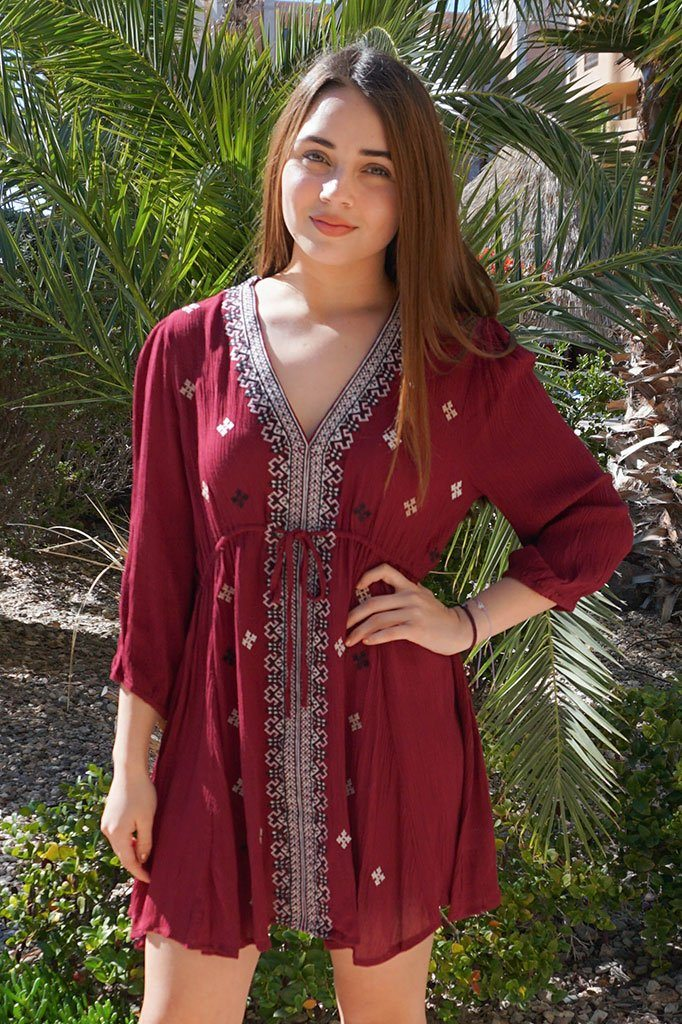 Dream In Burgundy Embroidered Long Sleeve Swing Dress 1