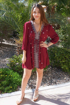 Dream In Burgundy Embroidered Long Sleeve Swing Dress 4