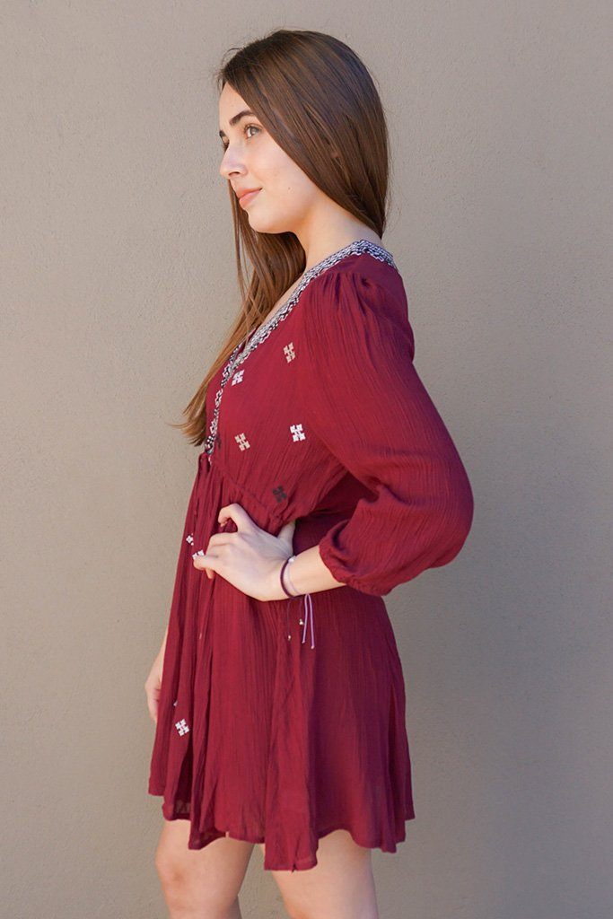 Dream In Burgundy Embroidered Long Sleeve Swing Dress 2