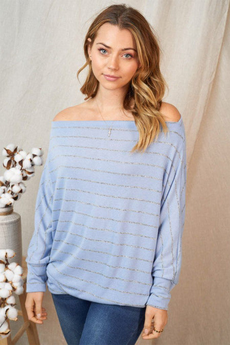 Effortless Lifestyle Blue Stripe Off The Shoulder Top 1