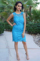 Enchanted Evening Teal Blue Illusion Lace Dress 3