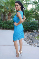 Enchanted Evening Teal Blue Illusion Lace Dress 2