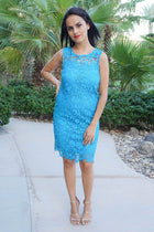 Enchanted Evening Teal Blue Illusion Lace Dress 4