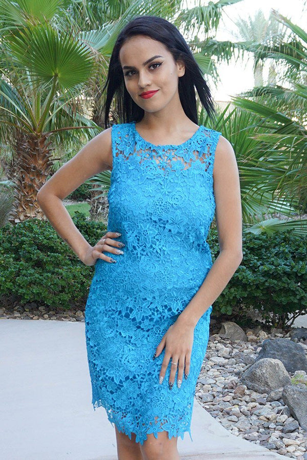 Enchanted Evening Teal Blue Illusion Lace Dress 1