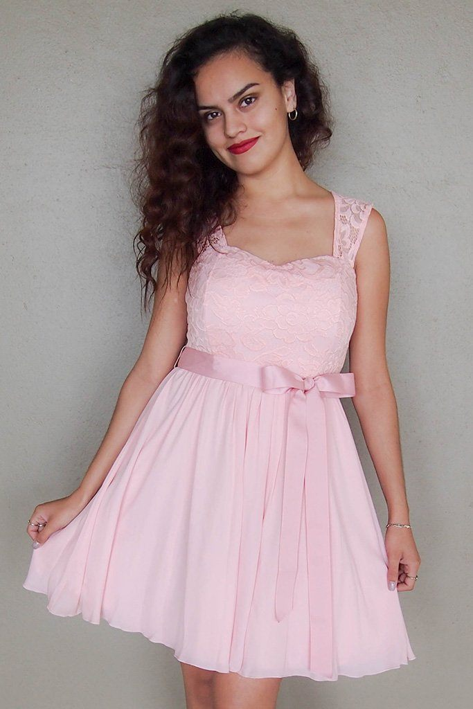 Endless In Elegance Pink Lace Skater Dress 1