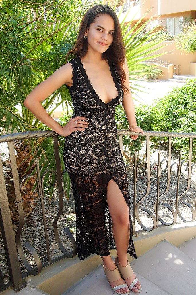 Endlessly Alluring Black Lace Nude Illusion Maxi Dress 1