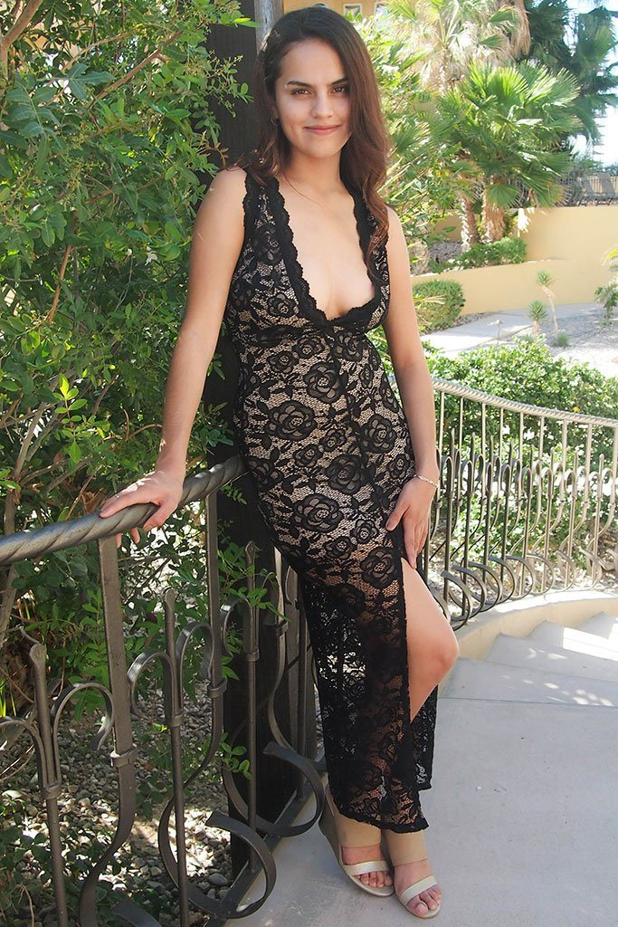 Endlessly Alluring Black Lace Nude Illusion Maxi Dress 4