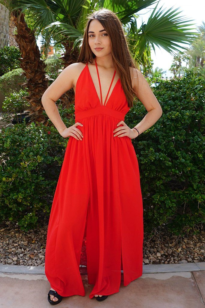 Essence Of Style Red Silk Halter Backless Maxi Dress 4