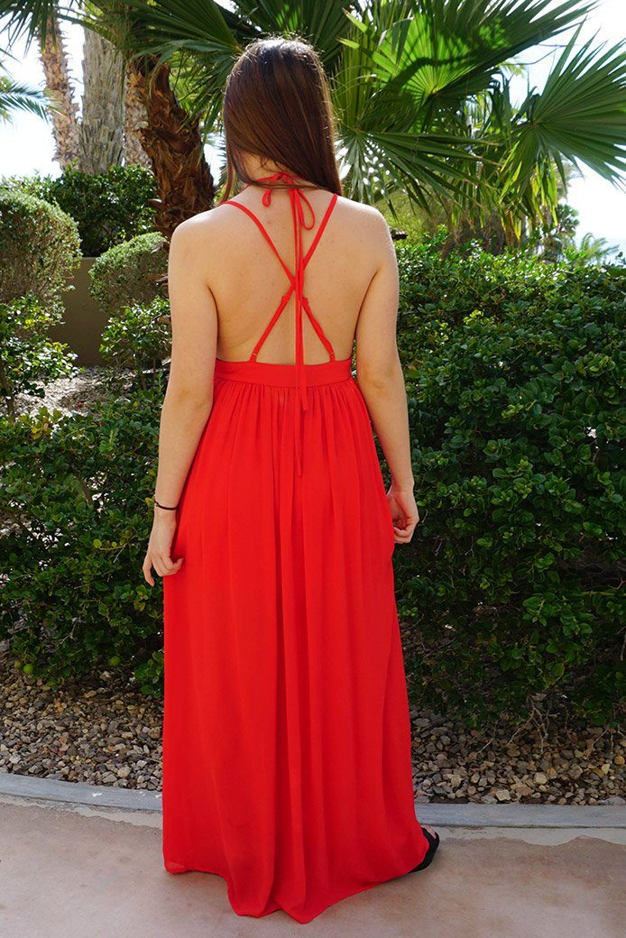 Essence Of Style Red Silk Halter Backless Maxi Dress 3