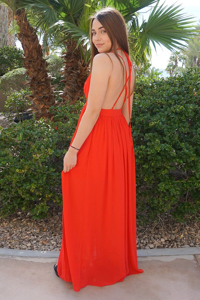 Essence Of Style Red Silk Halter Backless Maxi Dress 2