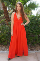 Essence Of Style Red Silk Halter Backless Maxi Dress 1