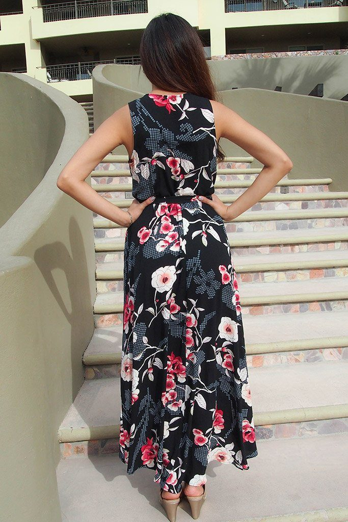 Everyday Occasion Midnight Black Floral Print High-Low Maxi Dress 4