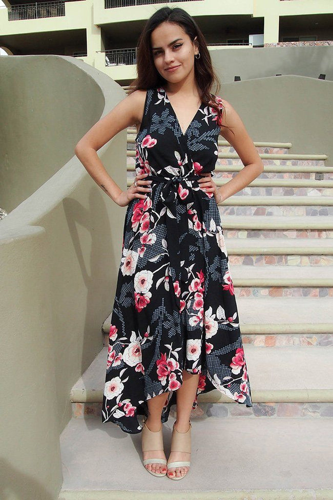 Everyday Occasion Midnight Black Floral Print High-Low Maxi Dress 1