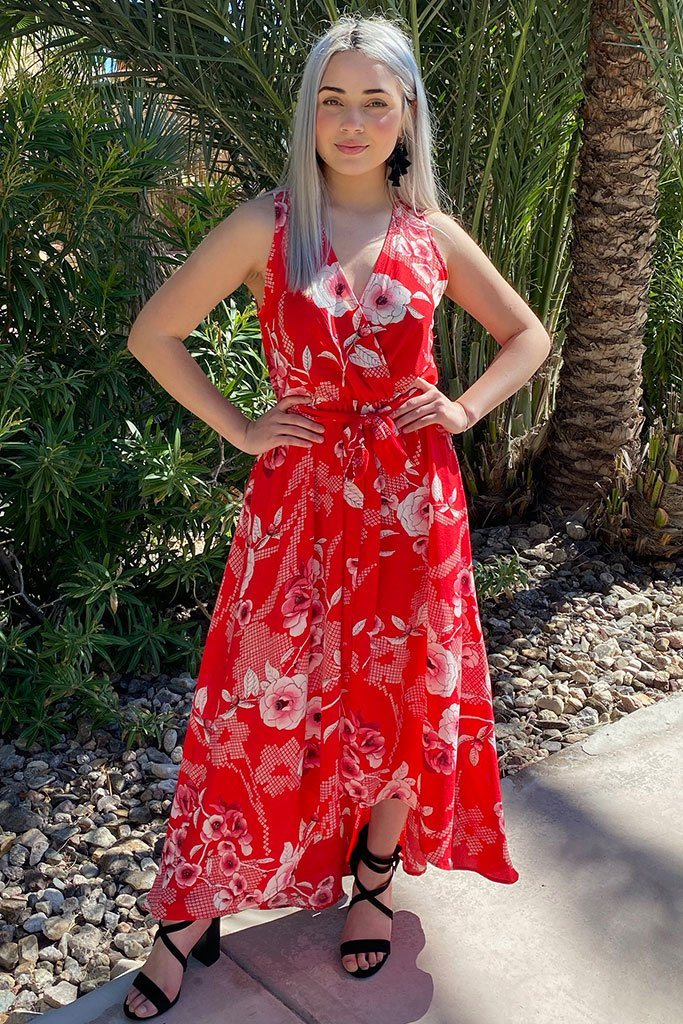 Everyday Occasion Vibrant Red Floral Print High-Low Maxi Dress 3