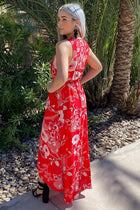 Everyday Occasion Vibrant Red Floral Print High-Low Maxi Dress 2