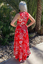 Everyday Occasion Vibrant Red Floral Print High-Low Maxi Dress 4