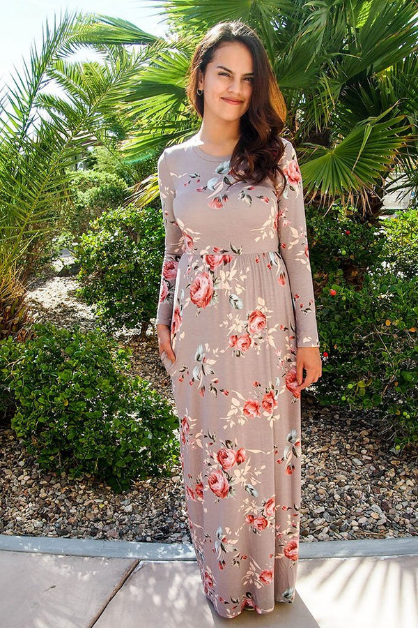 Everything For You Beige Floral Print Long Sleeve Maxi Dress 4