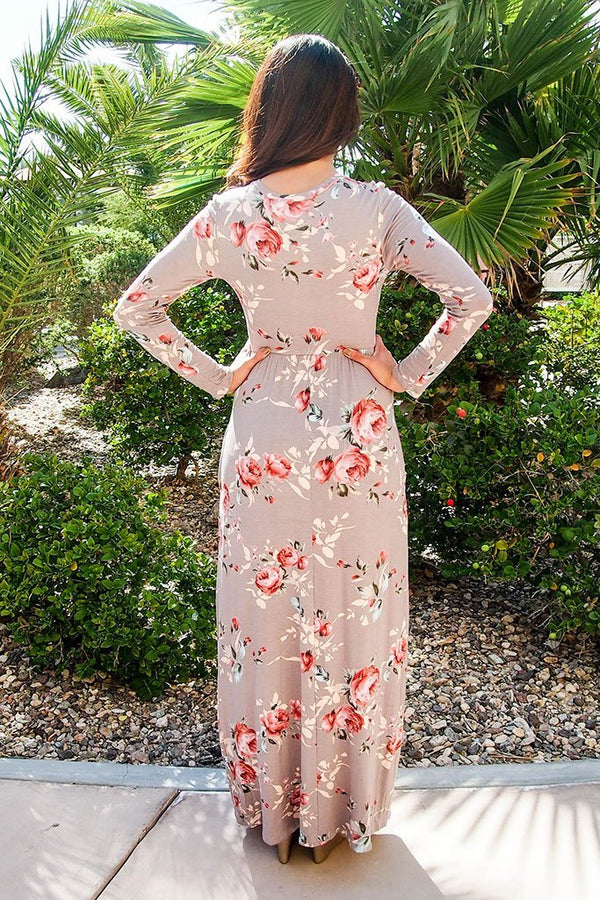 Everything For You Beige Floral Print Long Sleeve Maxi Dress 3