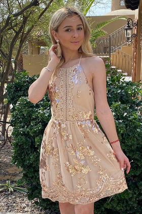 Feelin' So Good Gold Sequin Lace Halter Skater Dress 1