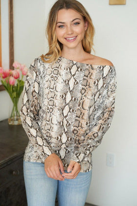 Fierce Desires Beige Snake Print Off The Shoulder Top 1