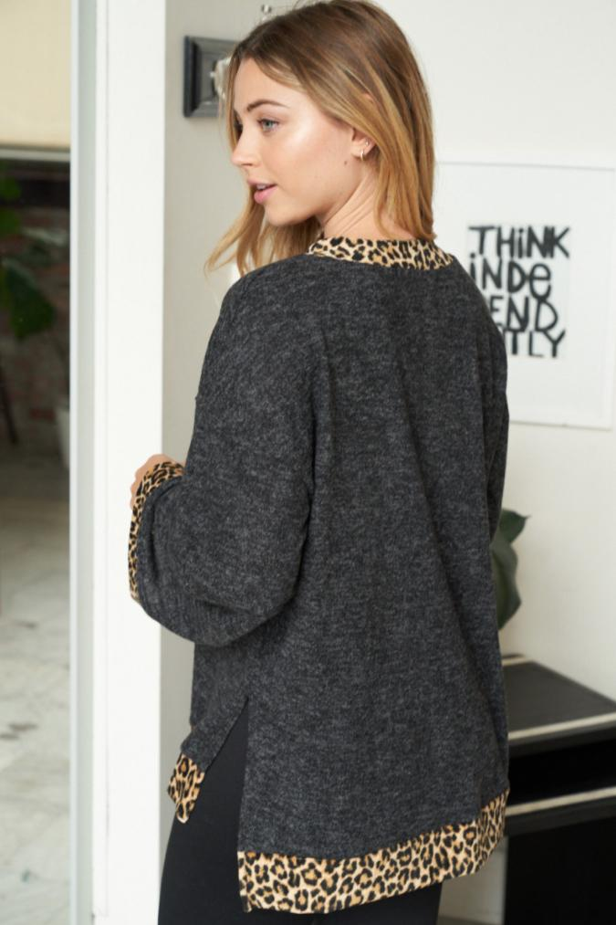 Fierce Love Grey Leopard Print Top 2