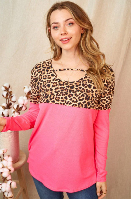 Flirting Fiercely Neon Pink Leopard Print Long Sleeve Top 1