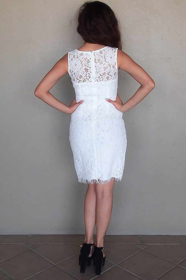 Flirting With Desire White Lace Midi Dress 3