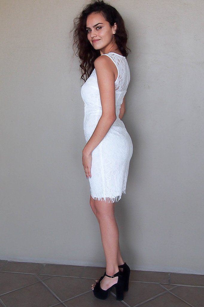 Flirting With Desire White Lace Midi Dress 2