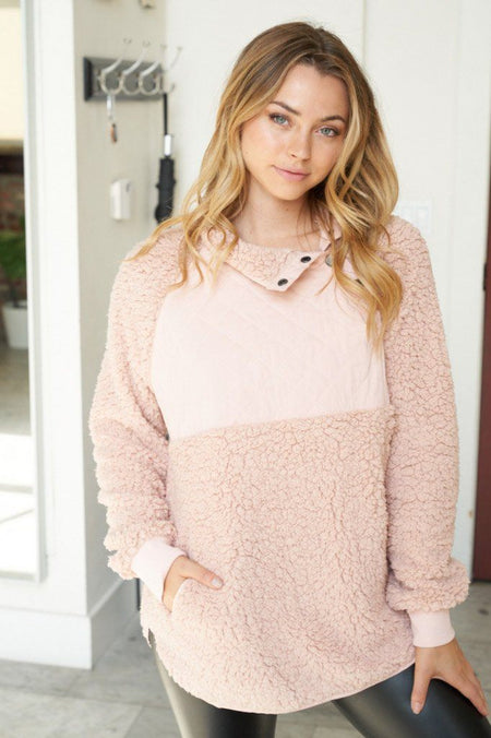 Found My Heart Blush Fleece Sweater 1