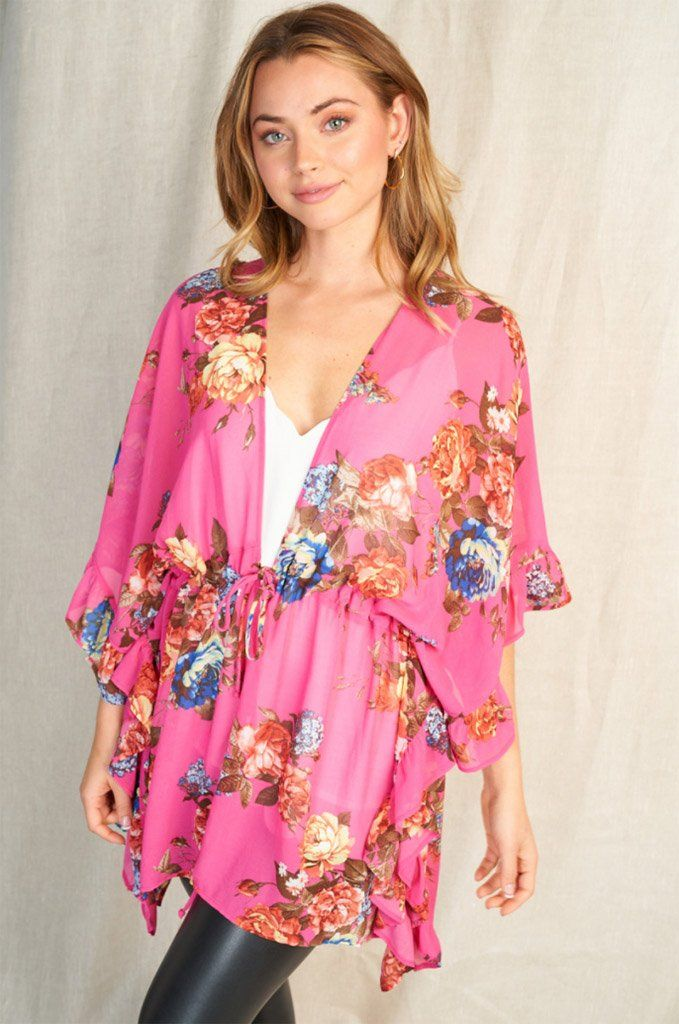 Get Inspired Pink Floral Kimono 1