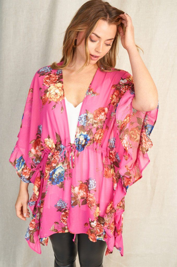 Get Inspired Pink Floral Kimono 3