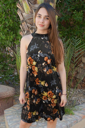 Get Romantic Dark Olive Velvet Floral Print Halter Shift Dress 1