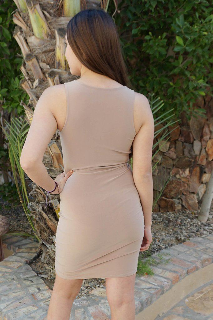 Girl In The Mirror Beige Cutout Bodycon Dress 3