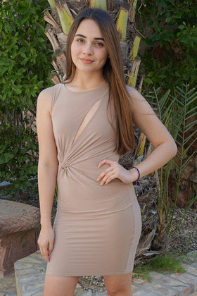 Girl In The Mirror Beige Cutout Bodycon Dress 1