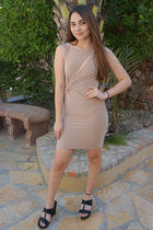 Girl In The Mirror Beige Cutout Bodycon Dress 4