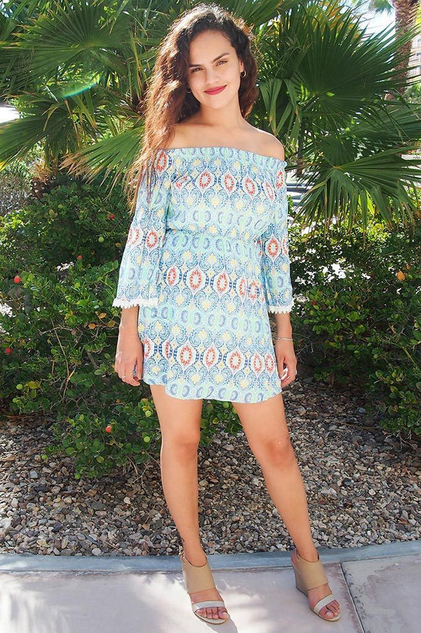 Give Me A Print Light Blue Print Off The Shoulder Dress 4
