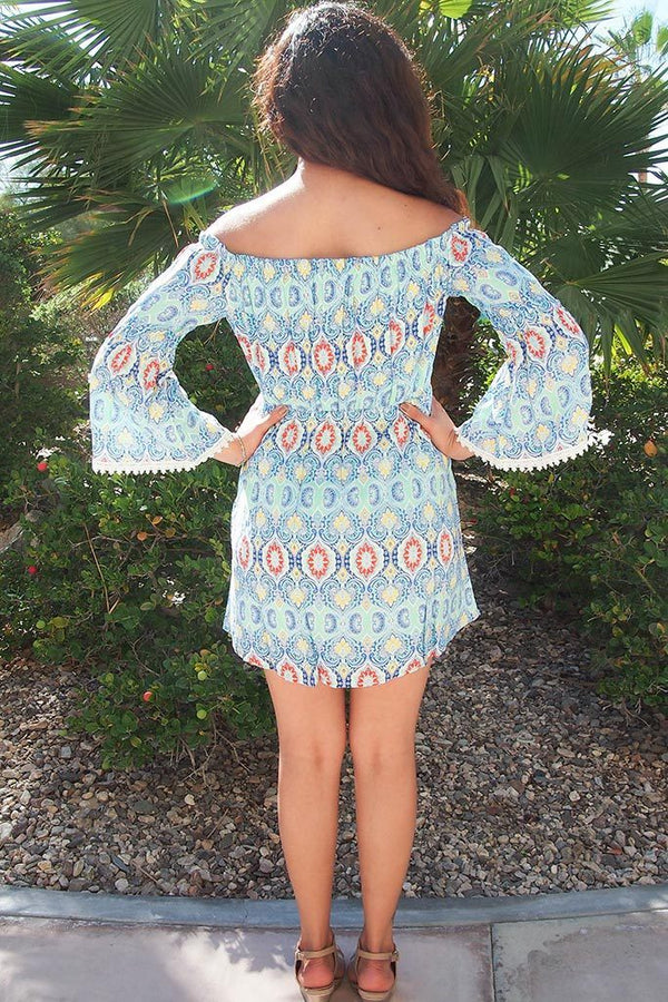Give Me A Print Light Blue Print Off The Shoulder Dress 3