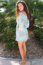 Give Me A Print Light Blue Print Off The Shoulder Dress 2